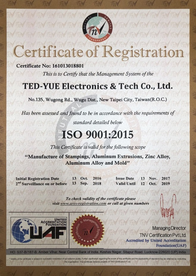 ISO9001:2015 Manufacture of Stamping, Aluminum Extrusion, Zinc Alloy, Aluminum Alloy and mold